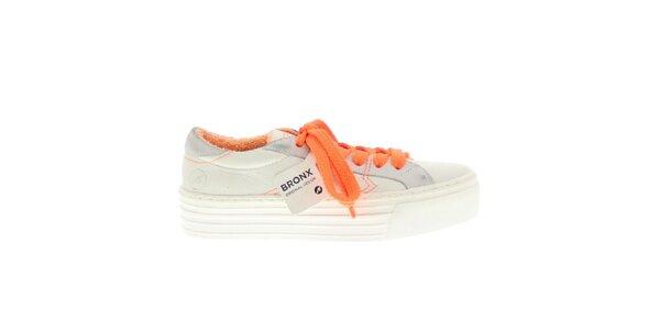 Dámske biele tenisky s pevnou platformou a oranžovými prvkami Bronx