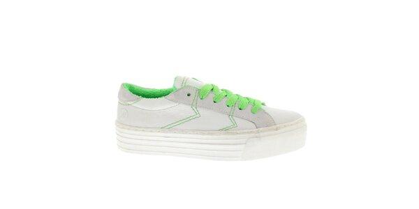 Dámske biele tenisky s pevnou platformou a zelenými prvkami Bronx