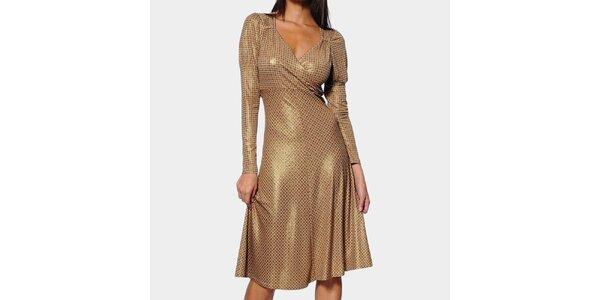 Dámske zlaté šaty ODM Fashion