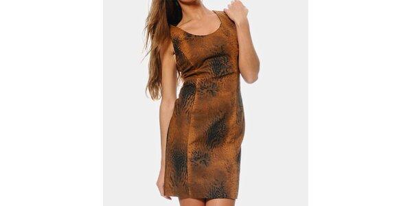 Dámske hnedé safari šaty ODM Fashion
