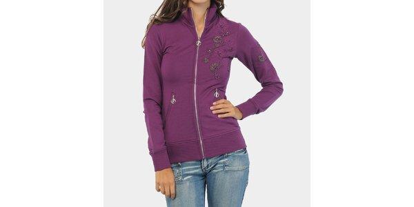 Dámska fialová mikina s korálkovou výšivkou ODM Fashion