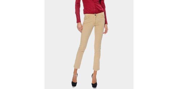 Dámske béžové capri nohavice ODM Fashion