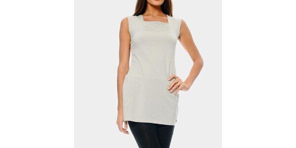 Dámsky predĺžený biely top ODM Fashion