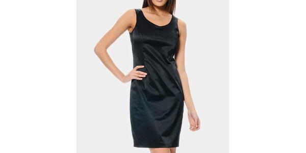 Dámske čierne lesklé púzdrové šaty ODM Fashion