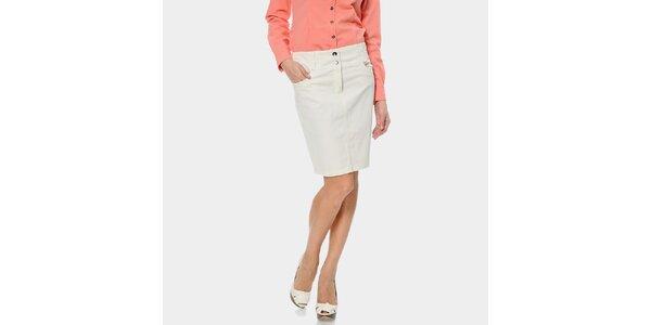 Dámska biela džínsová sukňa ODM Fashion