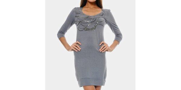 Dámske šedomodré šaty ODM Fashion