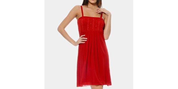 Dámske červené šaty na ramienka ODM Fashion