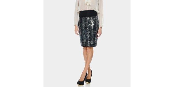Dámska čierna sukňa s lesklým predným dielom ODM Fashion