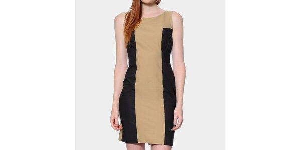 Dámske béžovo-čierne šaty ODM Fashion