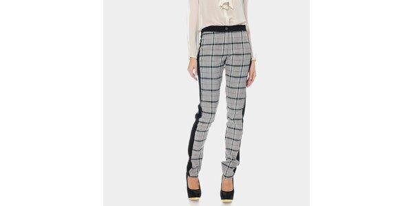 Dámske šedo kockované nohavice ODM Fashion