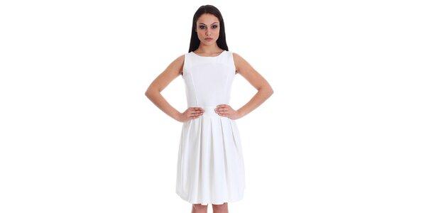 Dámske biele šaty so srdcovým prestrihom SforStyle