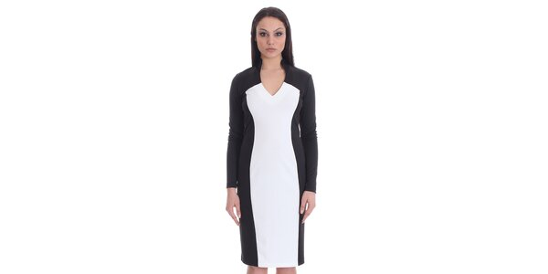 Dámske čierno-biele púzdrové šaty SforStyle