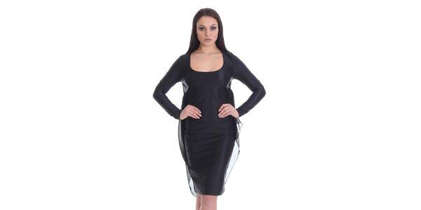Dámske čierne šaty s transparentnou vrstvou SforStyle