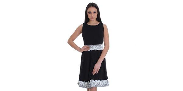 Dámske čierne šaty s bielou čipkou SforStyle
