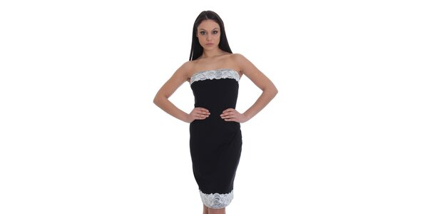 Dámske čierne púzdrové šaty s bielou čipkou SforStyle