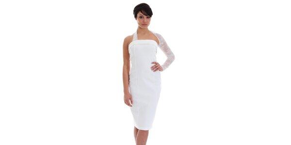 Dámske biele šaty s čipkovaným rukávom SforStyle