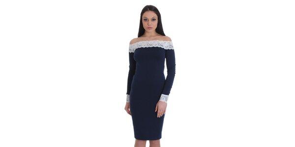 Dámske tmavo modré šaty s bielou čipkou SforStyle