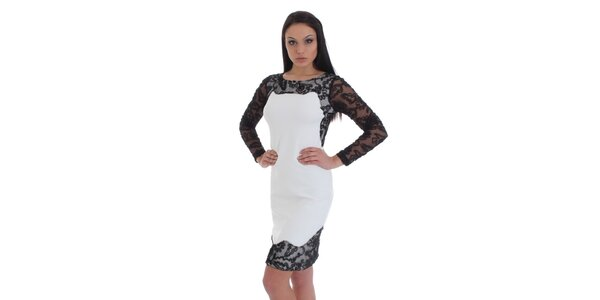 Dámske biele púzdrové šaty s čiernou čipkou SforStyle
