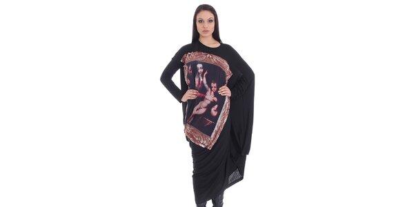 Dámske čierne šaty s potlačou SforStyle