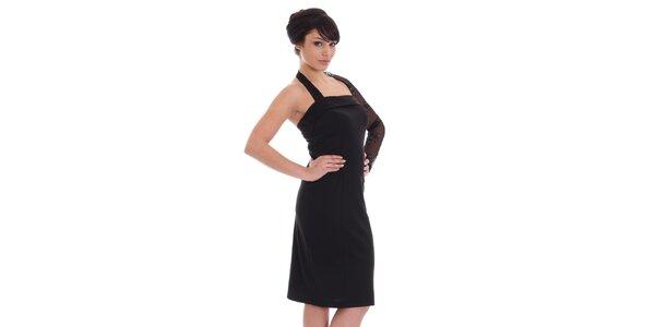 Dámske čierne šaty s čipkovaným rukávom SforStyle