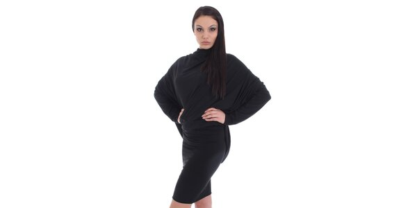 Dámske čierne šaty s púzdrovou sukňou SforStyle