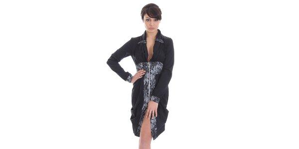 Dámske čierne šaty na zips SforStyle
