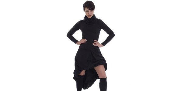 Dámske čierne šaty s asymetrickou sukňou SforStyle