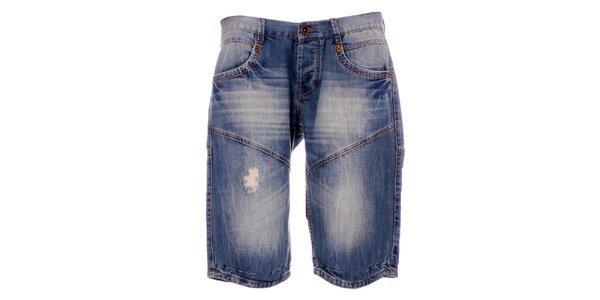 Pánske modré džínsové kraťasy Exe