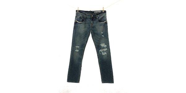 Pánske modré džínsy Tommy Hilfiger s dierami