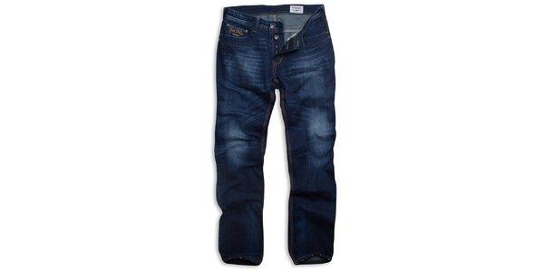 Pánske tmavo modré džínsy Paul Stragas s vyšisovanými kolenami