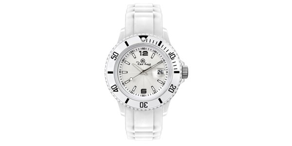 Biele analógové hodinky so silikónovým remienkom Riko Kona