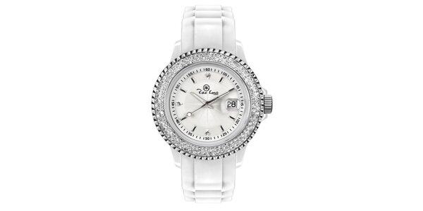 Biele analógové hodinky s kamienkami Riko Kona