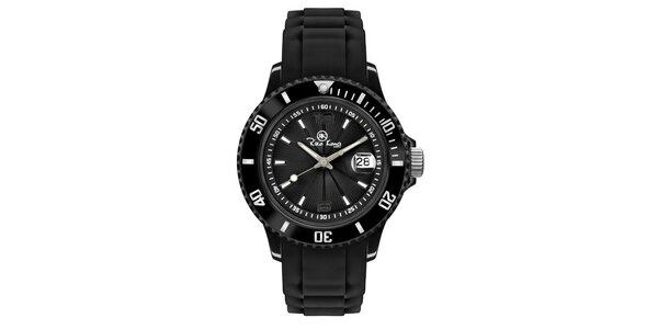 Čierne analógové hodinky so silikónovým remienkom Riko Kona