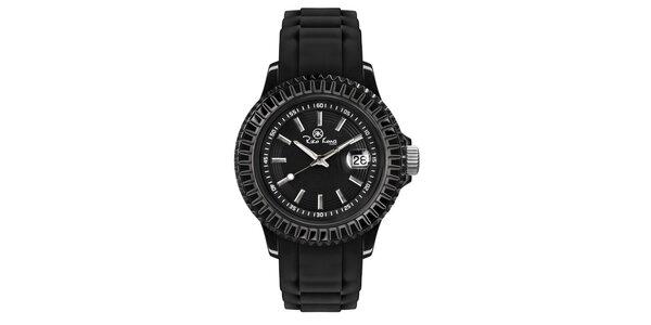 Čierne hodinky so silikónovým remienkom a dátumovkou Riko Kona