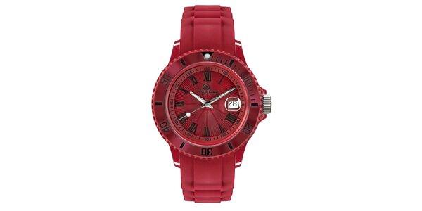 Červené analógové hodinky s rímskymi číslicami Riko Kona