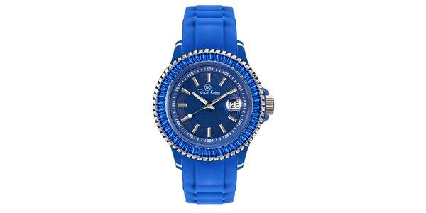 Modré hodinky so silikónovým remienkom a dátumovkou Riko Kona