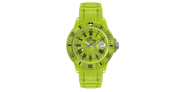 Zelené analógové hodinky s rímskymi číslicami Riko Kona