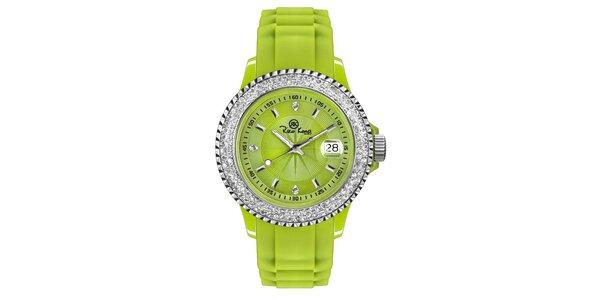 Zelené analógové hodinky s kamienkami Riko Kona