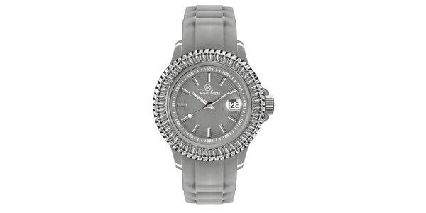 Šedé hodinky so silikónovým remienkom a dátumovkou Riko Kona