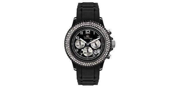 Čierne analógové hodinky s chronografom Riko Kona