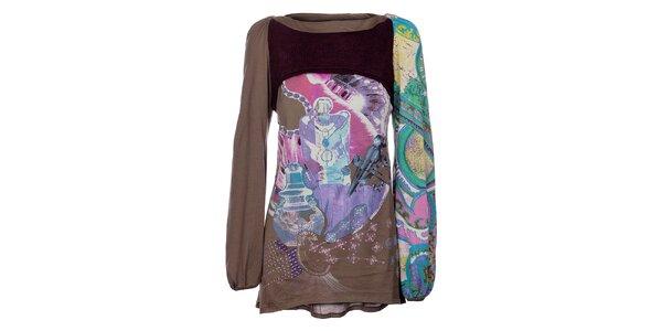 Dámsky khaki top Custo Barcelona s farebnou kolážou a pletenou vestičkou