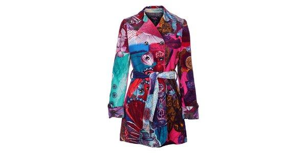Dámsky pestrofarebný zimný menčestrový kabát Custo Barcelona