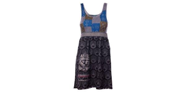 Dámske svetlo šedé šaty Custo Barcelona s potlačou a kamienkami