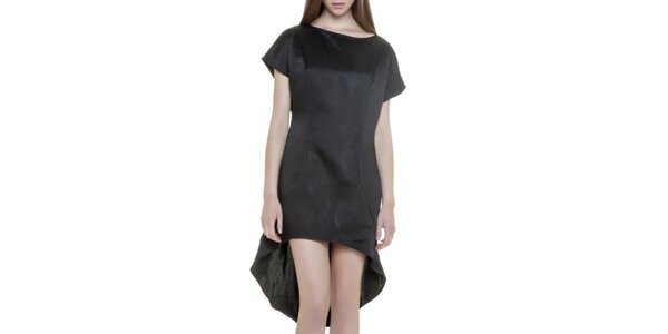 Dámske čierne šaty s asymetrickou sukňou Gene
