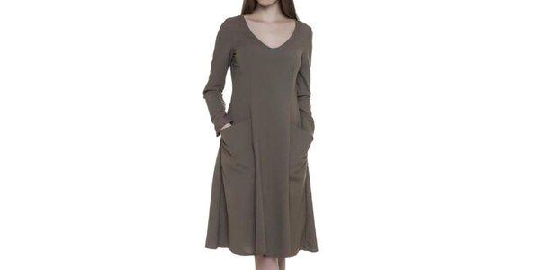 Dámske hnedé šaty s vreckami Gene