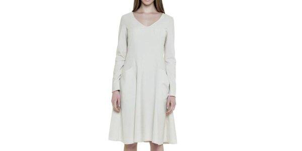 Dámske biele šaty s vreckami Gene
