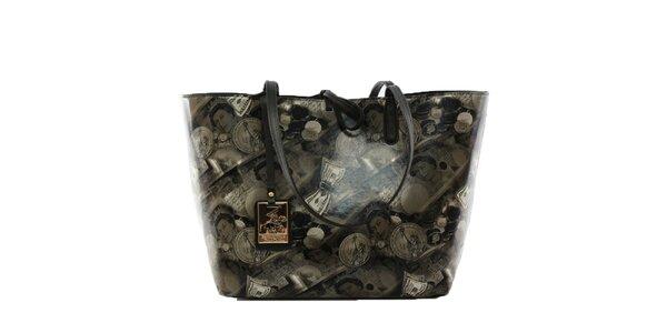Dámska tmavá kabelka s vyberateľným vreckom a s potlačou peňazí Beverly Hills…