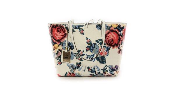 Dámska svetlá kabelka s vyberateľným vreckom a s motívom ruže Beverly Hills…