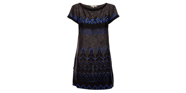 Dámske čierne šaty Uttam Boutique s ornamentálnou potlačou a korálkami