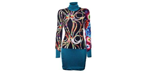 Dámske čierne šaty Custo Barcelona s farebným vzorom a tyrkysovým lemom